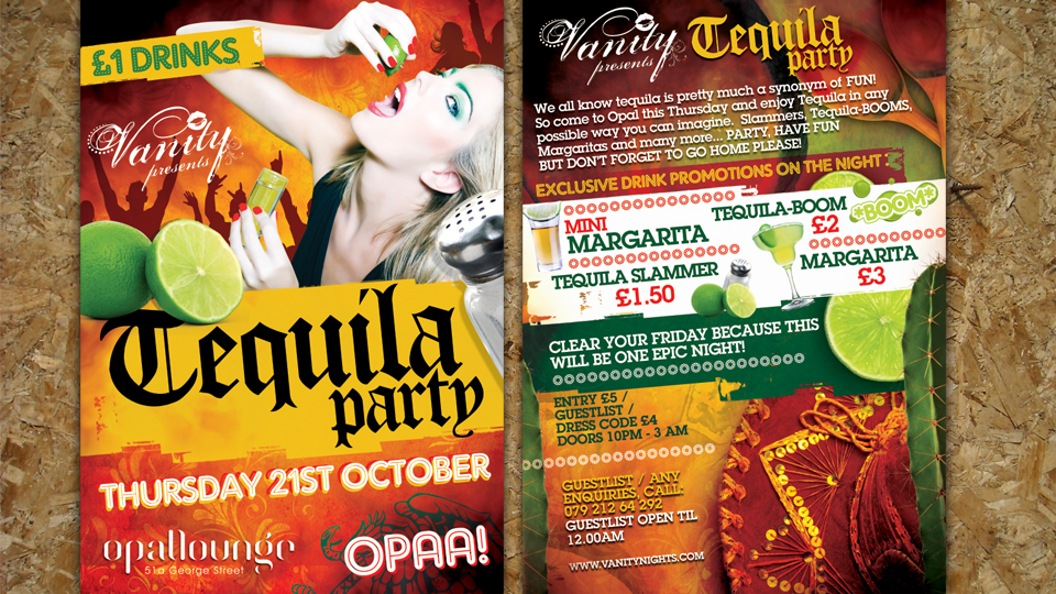 tequila flyer : Alan Campbell : Freelance Graphic Design ...