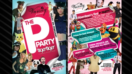 Flyer design for the P Party in Scotland