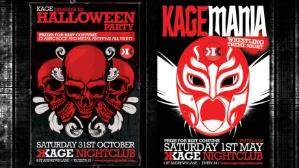 Poster designs for Dundee Alternative club Kage