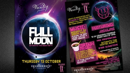 Full moon flyer design for Edinburgh nightclub