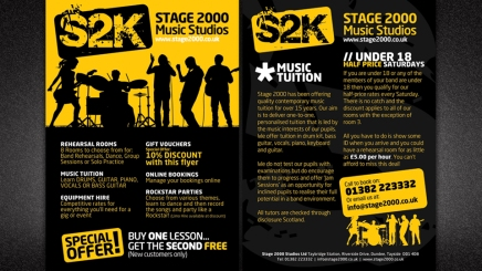 Dundee music studios flyer design