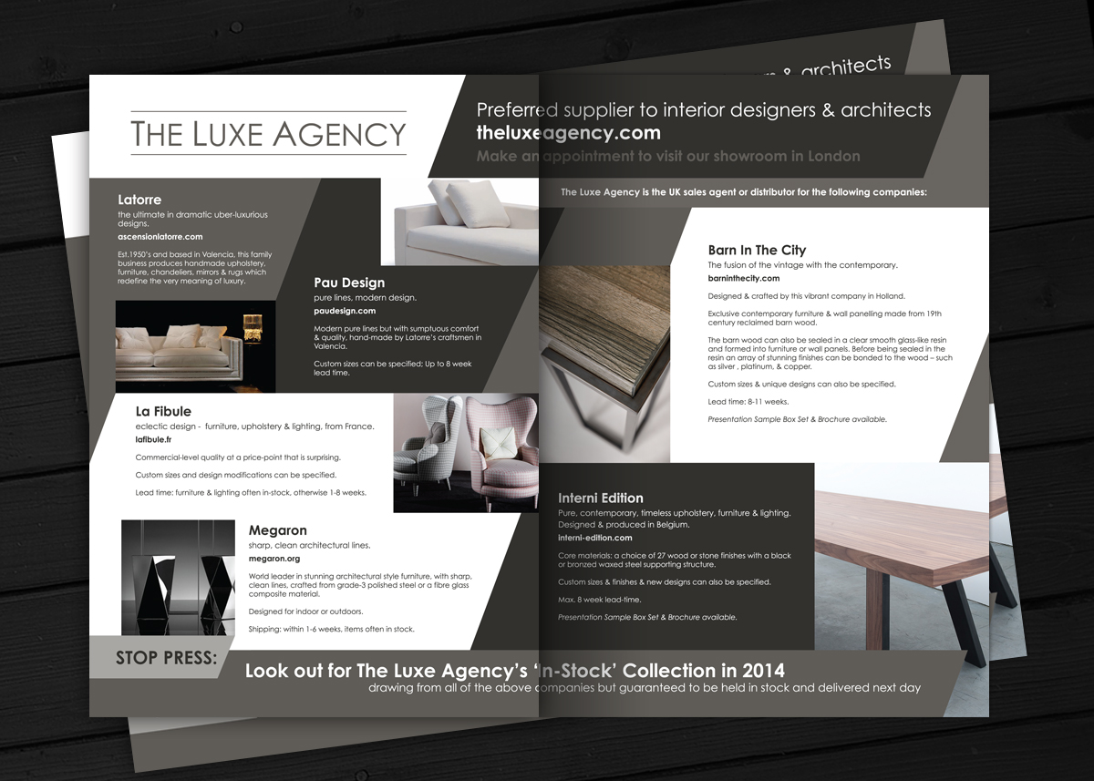 Luxe brochure design alan campbell freelance graphic for Interior brochure designs