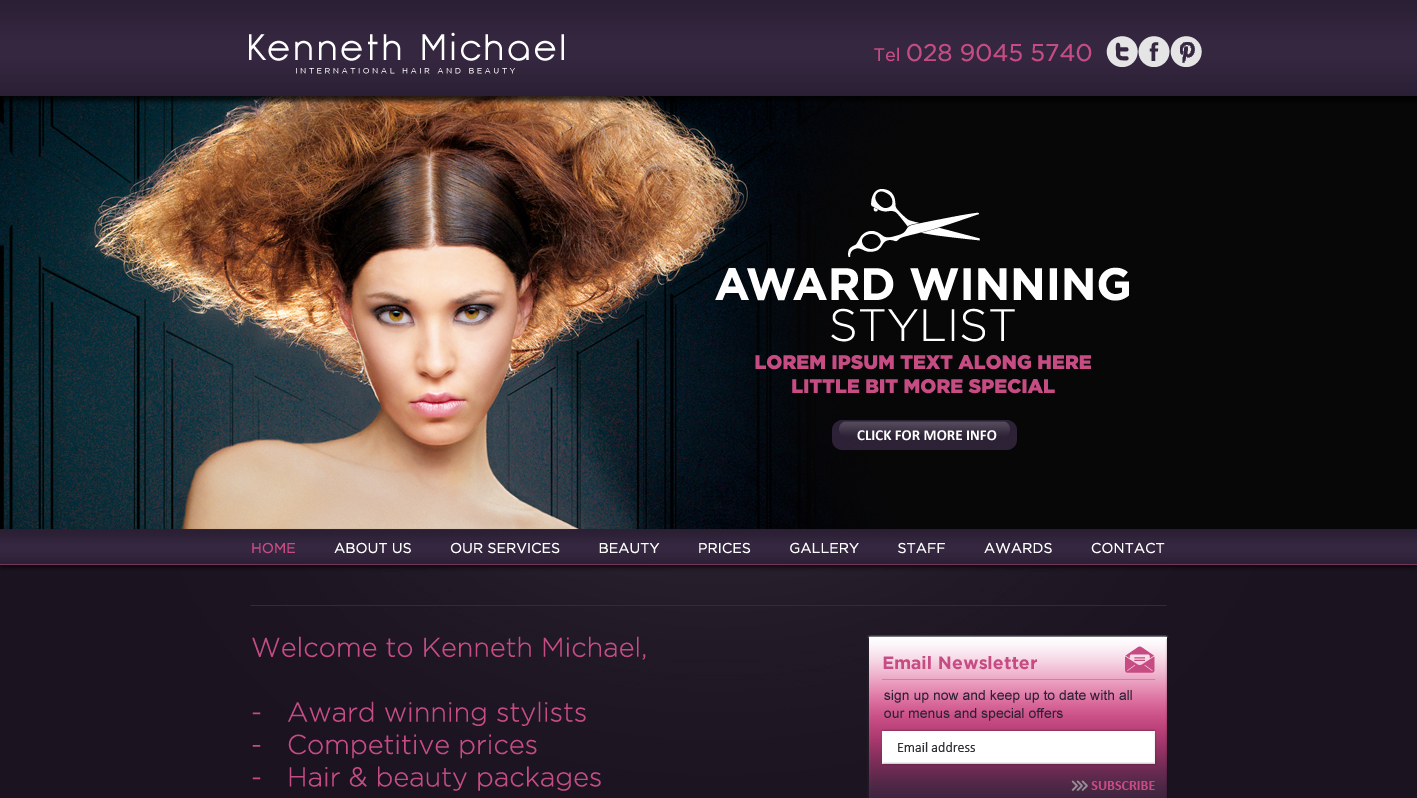 Scotland website design alan campbell freelance for A 1 beauty salon